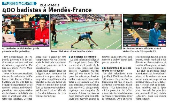 Le Dauphiné Libéré du 21-05-2019- Badminton Valence