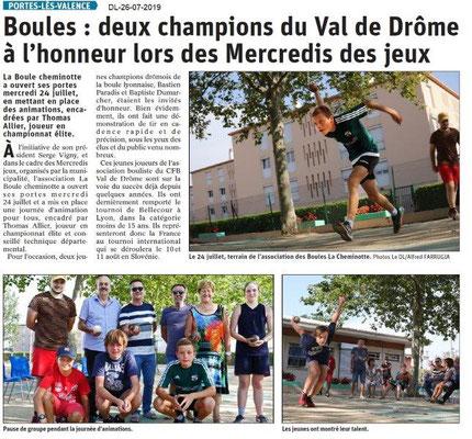Dauphiné Libéré du 26-07-2019- Boules lyonnaises