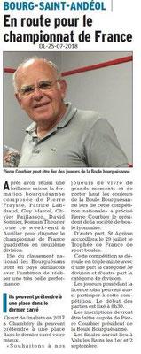 Dauphiné Libéré du 25-07-2018- En route pour le championnat de France