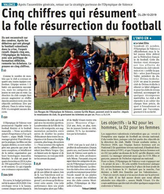 le Dauphiné Libéré du 29-10-2019- Football de Valence.