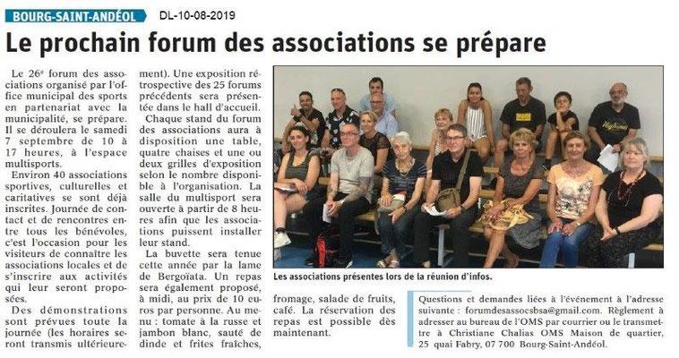 Dauphiné Libéré du 10-08-2019- Forum des associations à Bourg Saint-Andéol.