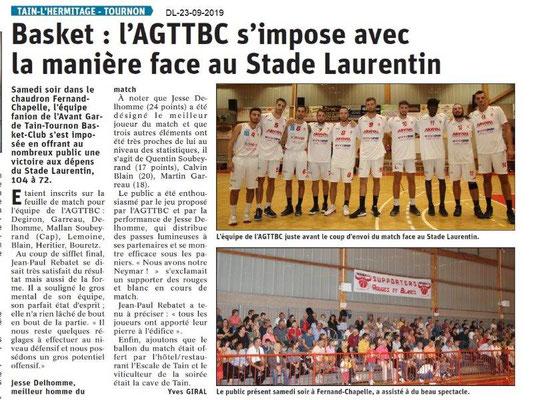 Dauphiné libéré du 23-09-2019- Basket Tain-Tournon
