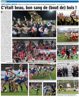 Dauphiné Libéré du 18-04-2018-Rugby comité Drôme-Ardèche-Valence