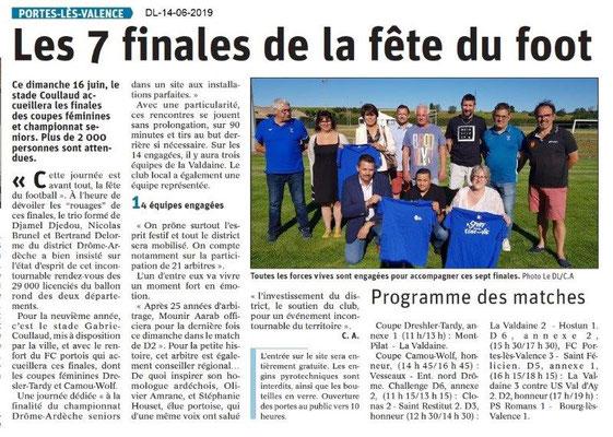 Dauphiné Libéré du 14-06-2019- Tournoi de foot à PLV
