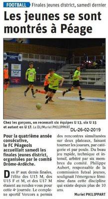 Dauphiné Libéré du 26-02-2019- Tournoi Futsal à Bourg de Péage