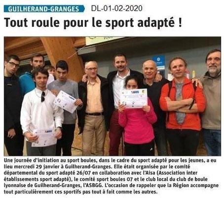 Le Dauphiné Libéré du 01-02-2020- Sport-adapté Guilherand