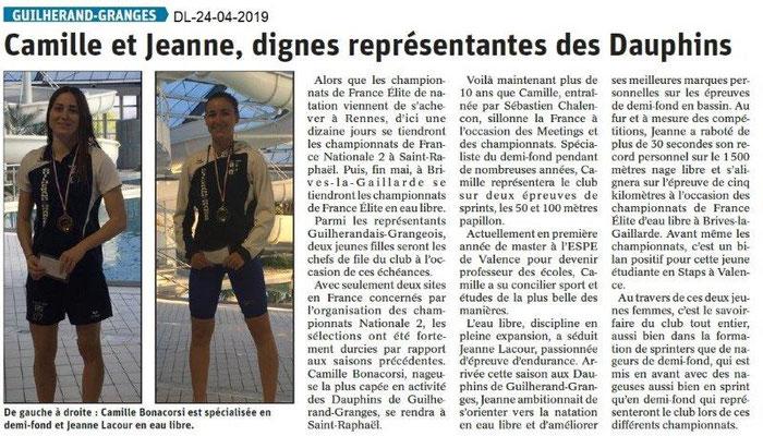 Le Dauphiné Libéré du 24-04-2019- Les dauphins de Guilherand