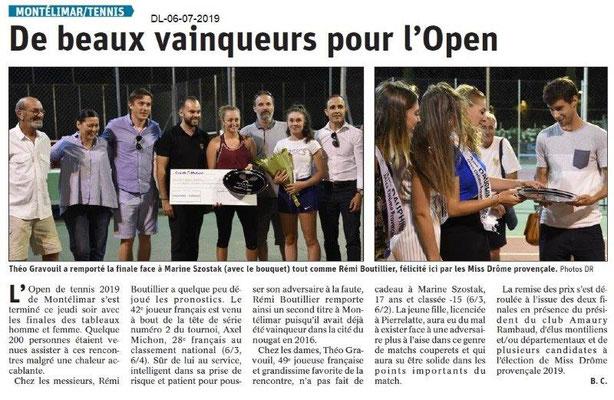 Dauphiné Libéré du 06-07-2019- Tennis de Montélimar