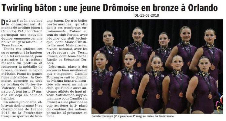 Dauphiné Libéré du 11-08-2018- Bravo Camille, médaille de bonze au championnat du monde TWB