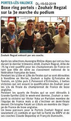Dauphiné Libéré du 15-02-2019- Boxing-club Portois
