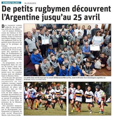 Le Dauphiné Libéré du 23-04-2019- Petits rugbymen Valence-Romans