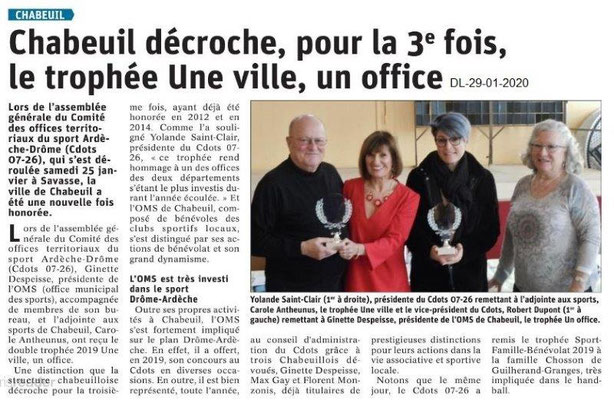 Dauphiné Libéré du 29-01-2020- Trophée CDOTS pour Chabeuil