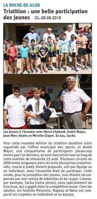 Dauphiné libéré du 28-08-2019- Triathlon de La Roche de Glun