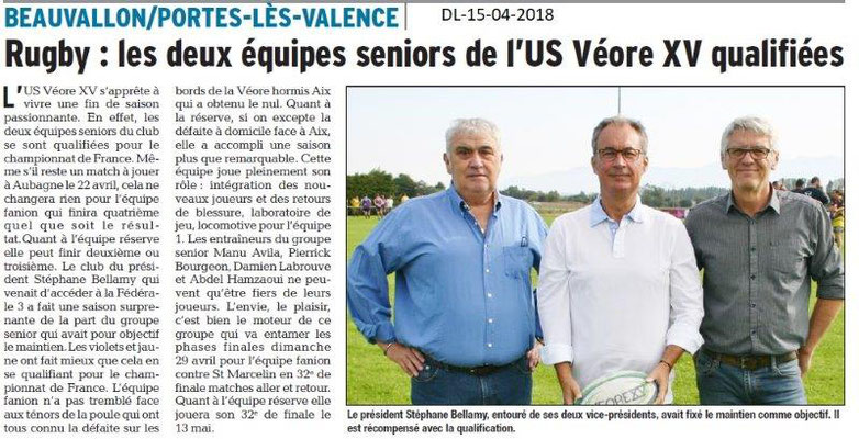 Dauphiné Libéré du 15-04-2018-USVéore XVqualifiée-Portes-les-Valence