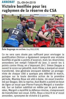 Le Dauphiné Libéré du 09-04-2019- Rugby d'Annonay