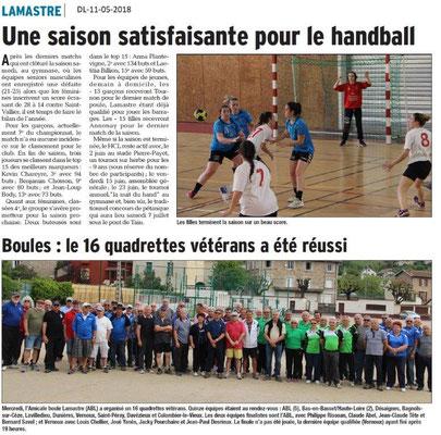 Dauphiné Libéré du 11-05-2018- Sport à Lamastre