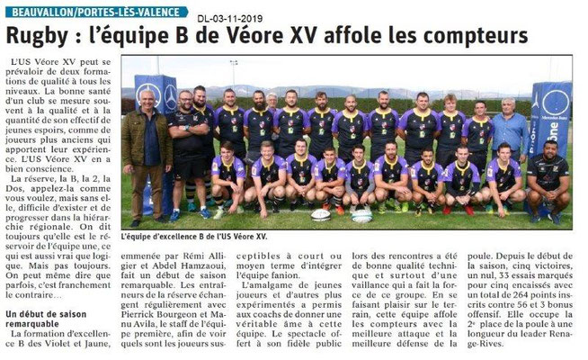 le Dauphiné Libéré du 03-11-2019- Rugby équipe B Véore XV PLV