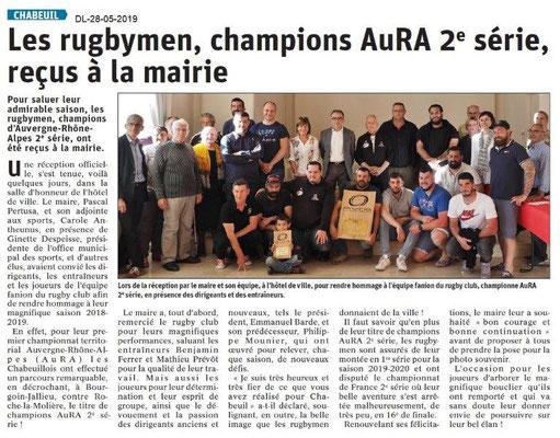 Le Dauphiné libéré du 28-05-2019- Rugby Chabeuil