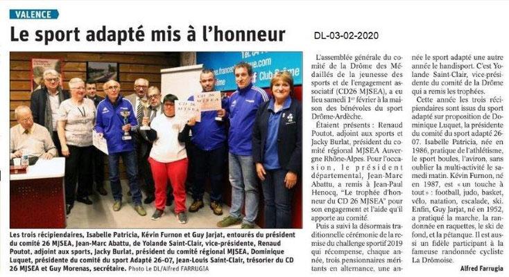 Le Dauphiné Libéré du 03-02-2020- AG CD26 MJSEA