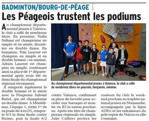 Dauphiné Libéré du 0-03-2018-Badminton- Bourg de Péage