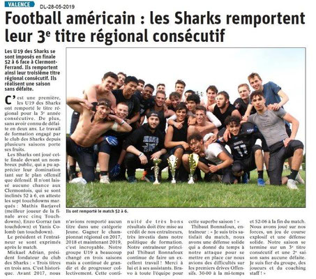 Le Dauphiné libéré du 28-05-2019- Football américain Valence