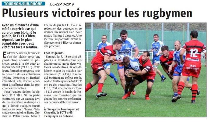 Dauphiné libéré du 22-10-2019- Rugby de Tournon