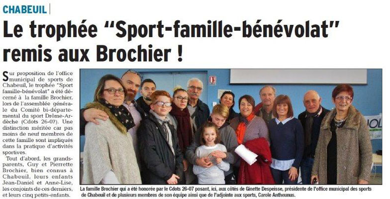 Dauphiné Libéré du 15-03-2018 Trophée Sport-Famille-Bénévolat 2017-CHABEUIL