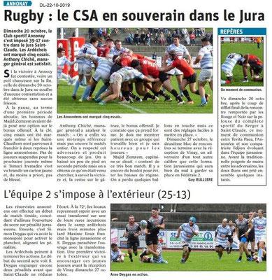 Dauphiné libéré du 22-10-2019- Rugby d'Annonay