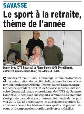 Dauphiné Libéré du 13-03-2018 CDOTS 07-26 et Savasse