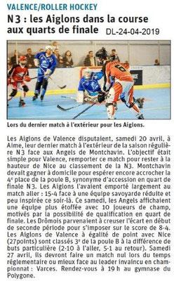 Le Dauphiné Libéré du 24-04-2019- Roller-hockey à Valence