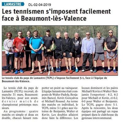 Le Dauphiné Libéré du 02-04-2019- Tennis de Lamastre