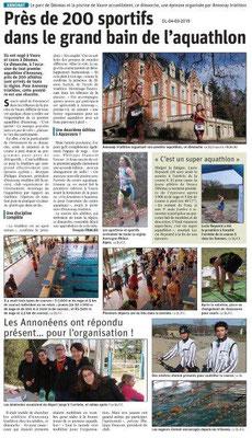 Le Dauphiné Libéré du 04-03-2019- 1er Aquathlon à Annonay