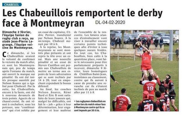 Le Dauphiné Libéré du 04-02-2020- Rugby de Chabeuil