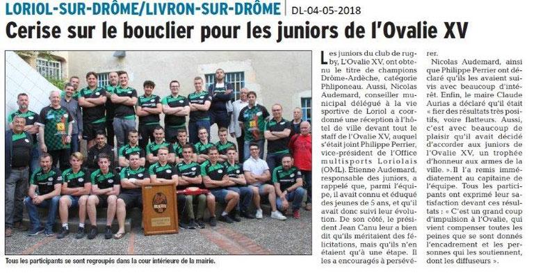Dauphiné Libéré du 04-05-2018- Rugby- Loriol