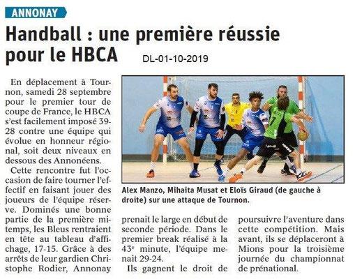 Dauphiné libéré du 01-10-2019- Handball d'Annonay