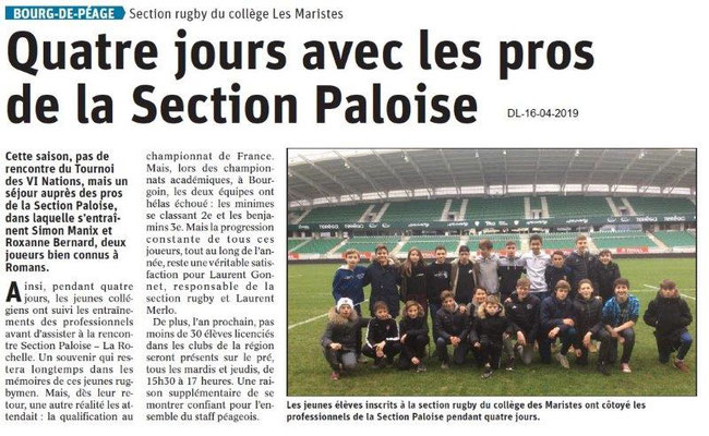 Le Dauphiné Libéré du 16-04-2019- Rugby de Bourg de Péage