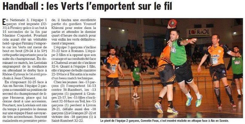 Dauphiné Libéré du -27-03-2018-Handball-Loriol
