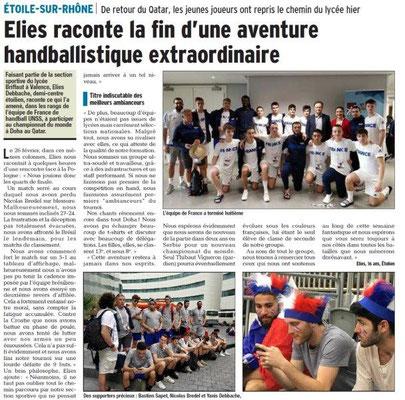 Dauphiné Libéré du 05-03-2018 Equipe de France-HandballUNSS