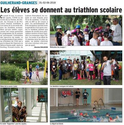 Dauphiné libéré du 02-06-2018-Triathlon à Guilherand-Granges