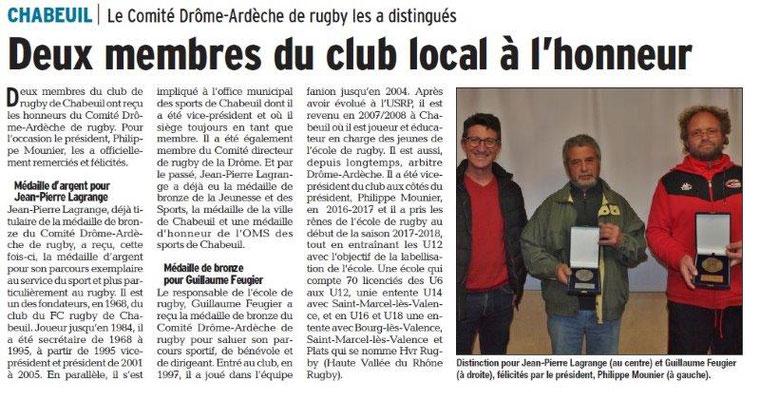 Dauphiné Libéré du Récompenses Rugby-Chabeuil