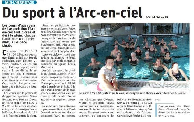 Dauphiné Libéré du 13-02-2019- L'Arc-en-ciel Tain-l'Hermitage