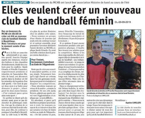 Dauphiné libéré du 20-09-2019- Handball féminin de Montélimar