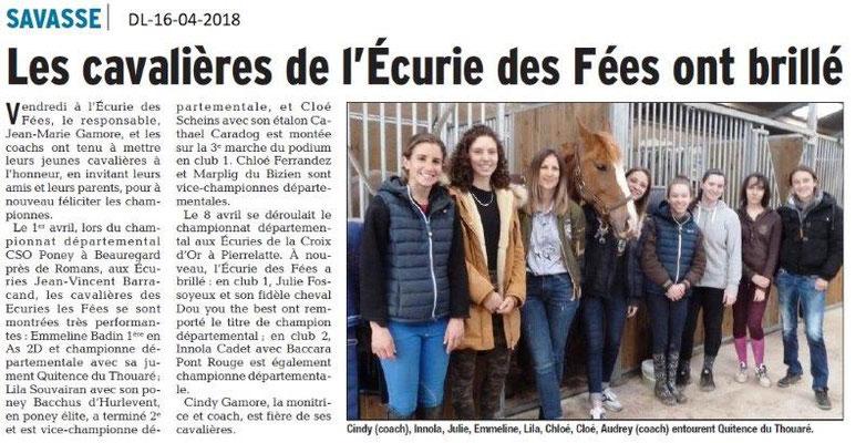 Dauphiné Libéré du 16-04-2018-l'Ecurie des Fées-Savasse