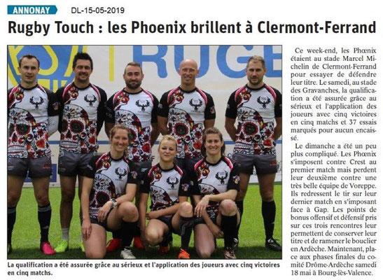 Le Dauphiné Libéré du 15-05-2019- Rugby Annonay