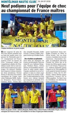 Dauphiné Libéré du 04-07-2018- Sport nautique à Montélimar