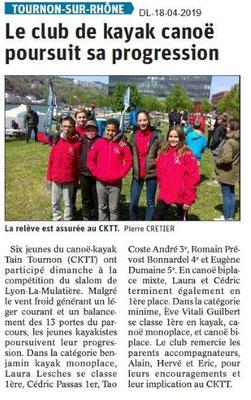 Le Dauphiné Libéré du 18-04-2019- Club de kayak Tournon