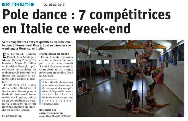 Dauphiné Libéré du 15-02-2019- Pool dance Bourg de Péage