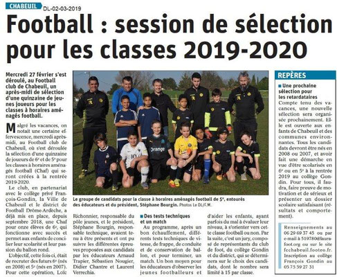 Dauphiné Libéré du 02-03-2019- Foot session de sélection à Chabeuil