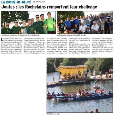 Dauphiné Libéré du 14-08-2018- La Roche de Glun remporte le challenge