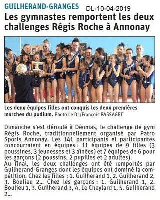 Le Dauphiné Libéré du 10-04-2019- Les gymnastes de Guillerand